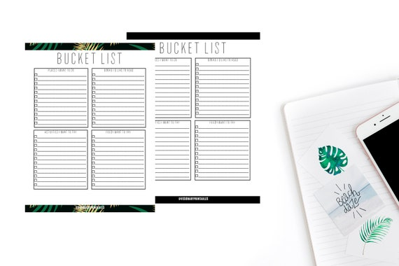 Bucket List Bucket List Template To Do List Instant Download Travel List Things To Do Bucket List Printable Bucket List Form