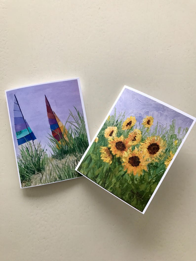 Sunflower and Sailboat-Set of 8 Notecards