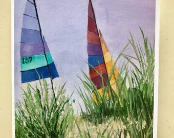 """Set of 10 Sailboat notecards. The notecards are 4"""" x 5.5"""" when folded."""
