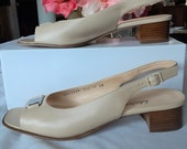 Ferragamo Renata Slingback heels Nude Beige Classic Shoes Size 10 AAA Narrow Women 39 s Shoes sandals