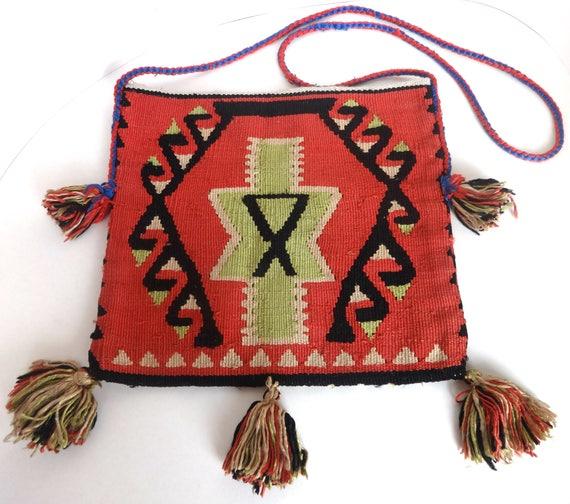 Vintage Silk Turkish Handmade Bag, Tassels, Handba