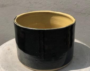 Ceramic Bowl, sleek pottery bowl, serving bowl, plant pot, small pottery planter, modern bowl, black bowl, cactus planter, succulent planter