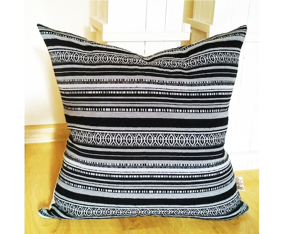 White Boho Diamond Knotted Pillow Cover