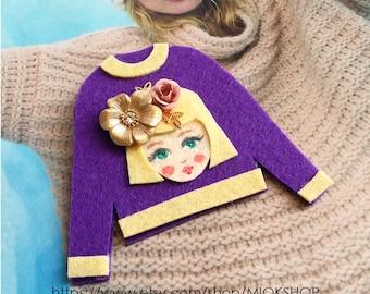 Felt art brooch, Girl brooch,Face brooch, Flower girl face pins, tshirt pins,Girl face sweater,cute girl face pins,Purple sweater, Felt pins