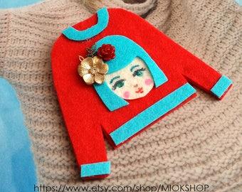 Felt art brooch, Girl brooch,Face brooch, Flower girl face pins, tshirt pins,Girl face sweater,cute girl face pins, Red sweater, Felt pins