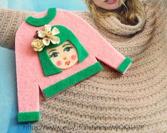 Felt art brooch, Girl brooch,Face brooch, Flower girl face pins, tshirt pins,Girl face sweater,cute girl face pins, Pink sweater, Felt pins