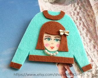 Felt art brooch, Girl brooch,Face brooch, Bow girl face pins, tshirt pins,Girl face sweater,cute girl face pins,Mint sweater, Felt pins