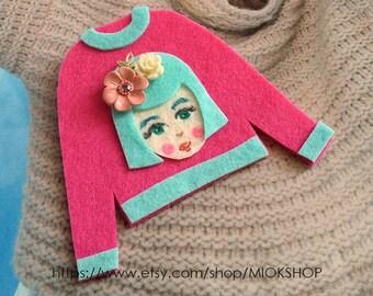 Felt art brooch, Girl brooch,Face brooch, Flower girl face pins, tshirt pins,Girl face sweater,cute girl face pins,Pink sweater, Felt pins