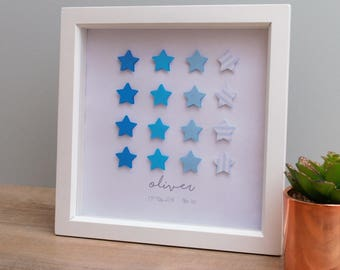 Personalised Ombre new baby, child, nursery, birthday, christening Gift Frame