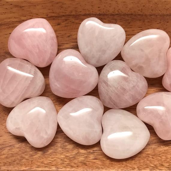 Natural Rose Quartz Crystal Carved Heart Palm Healing Love Fertility Gemstone