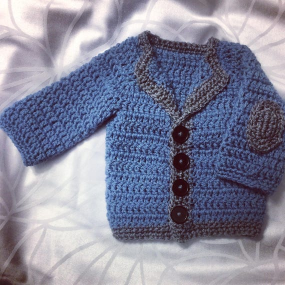 Little Old Man Baby Cardigan Crochet Baby Boy Pattern Etsy