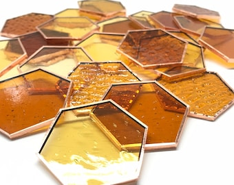 Stained Glass Precut and Foiled Hexagons are the bee's knees Discover the Amber Color Mix Now!