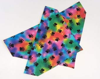 Rainbow paw print over the collar dog bandana, slip on dog bandana, dog scarf, dog collar, tye dye dog bandana, dog accessories, dog clothes