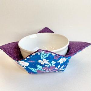 blue bowl pot holder zero waste eco friendly gift Botanical Microwave soup bowl cozy reversible bowl holder icecream bowl cozy