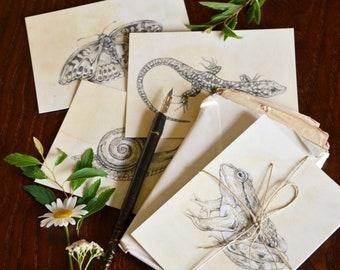 "Set of Four Illustrated Postcards / Mini Prints - ""Little Garden Friends"". Animal illustrations."