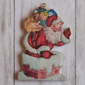 Wood and Glitter Vintage Card Image Silent Night Church Christmas Tree Ornament Holiday Decoration C368
