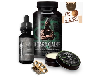 Faster Beard Growth Kit | Fuller Beard, No More Patches! - Balm, Oil, Mini Comb/Mustache Comb, 90ct Growth Vitamins