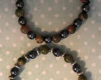 Set of Hematite and Unakite Beaded Bracelets