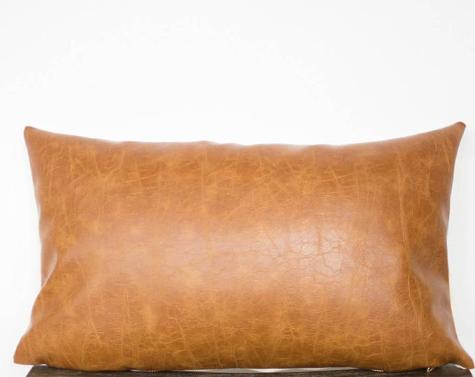 Camel Faux Leather Lumbar