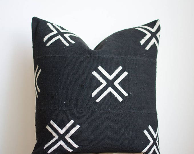 Black African Mudcloth Pillow No.15