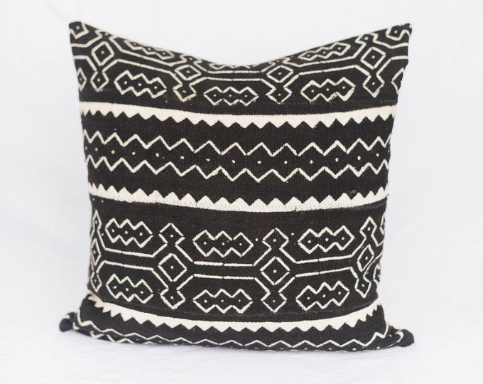 Black African Mudcloth Pillow No.93