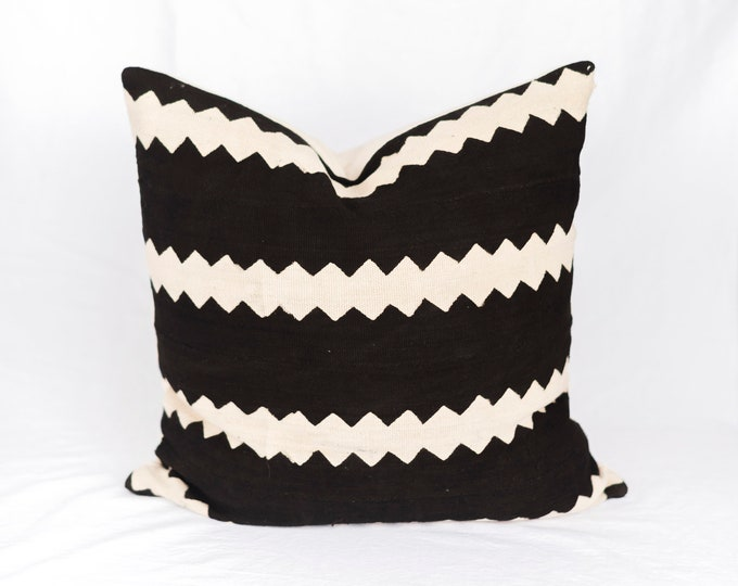 Striped African Mudcloth Pillow No.43