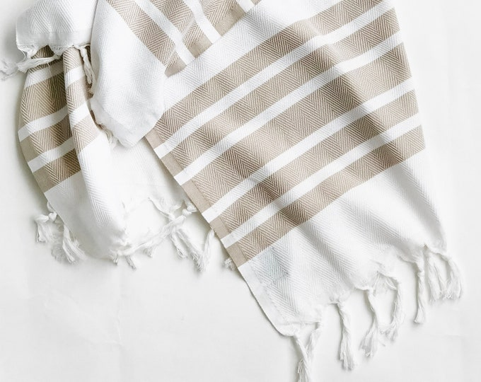 White & Beige Turkish Throw/Towel