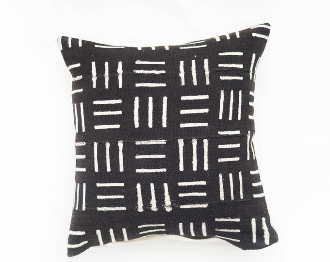 Black African Mudcloth Pillow No.33