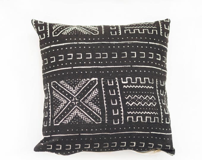 Black African Mudcloth Pillow No.89