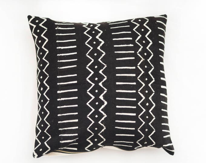Black African Mudcloth Pillow No.43