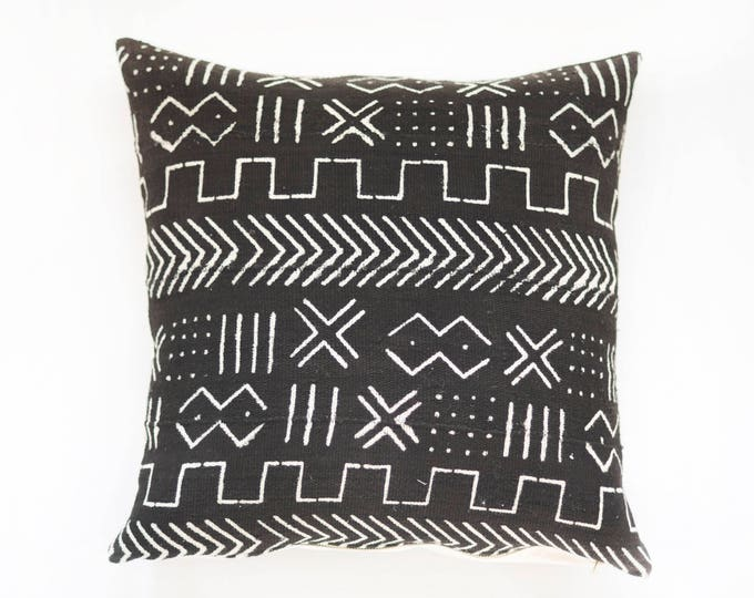 Black African Mudcloth Pillow No.64