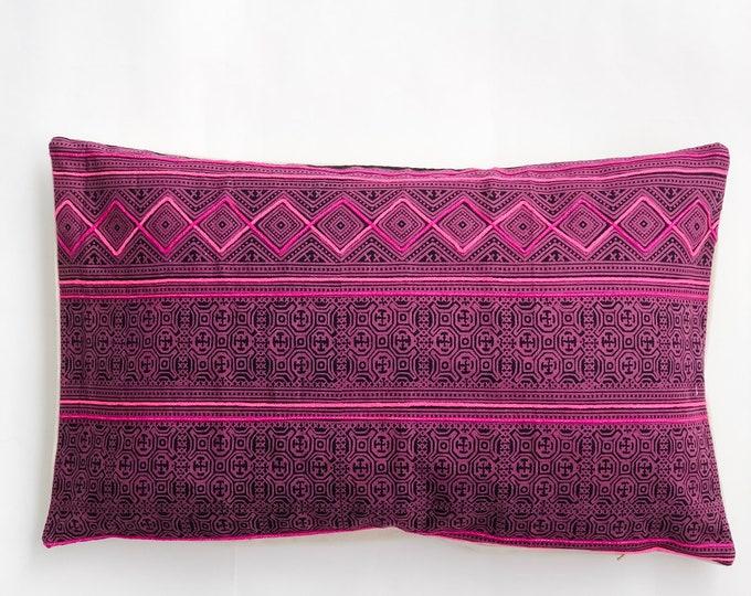 Pink & Navy Batik Lumbar