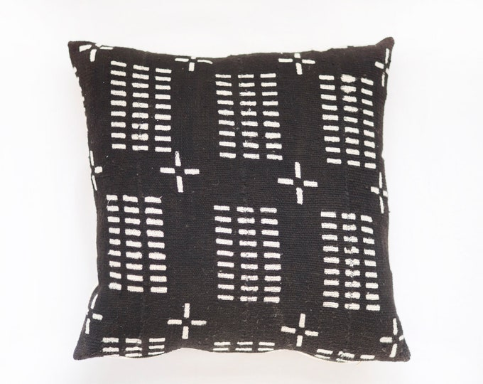 Black African Mudcloth Pillow No.68