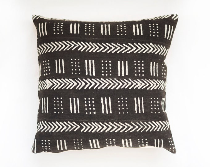 Black African Mudcloth Pillow No.95