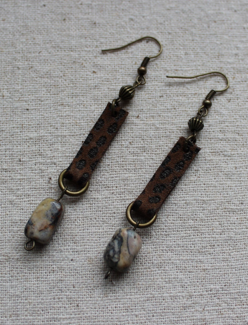 Upcycled brown spotted leather and gemstone dangle earrings