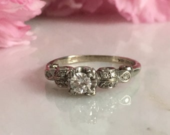 Sweet Vintage Diamond 18K White Gold Engagement Ring