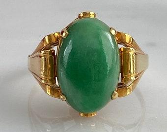 Art Deco Jade Jadeite 18K Gold Ring
