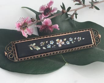 Victorian Rose Gold Enamel Brooch and Pin