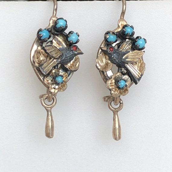 Victorian Silver Bird & Turquoise Earrings
