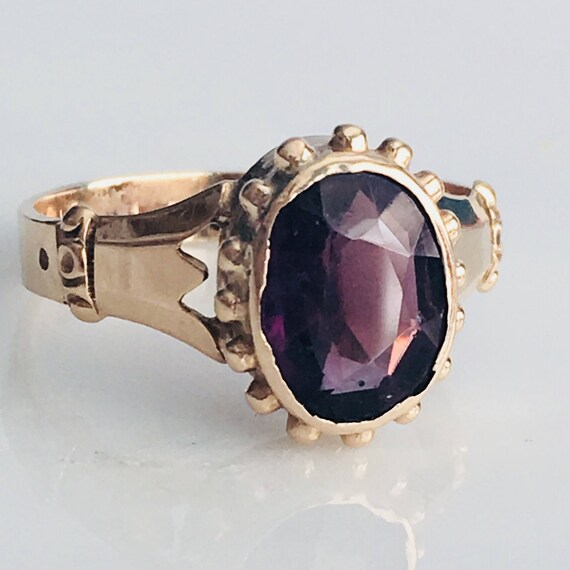 Victorian 10K Rose Gold Amethyst Ring