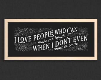 I love people who can make me laugh – digital art print, typography poster, illustration, love, laugh, friendship, chalk board, home decor