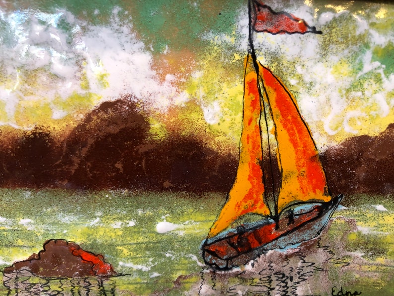 Circa 1968 Original Colorful MCM Sailboat in Water with Mountains Enamel signed Edna Granaz Framed