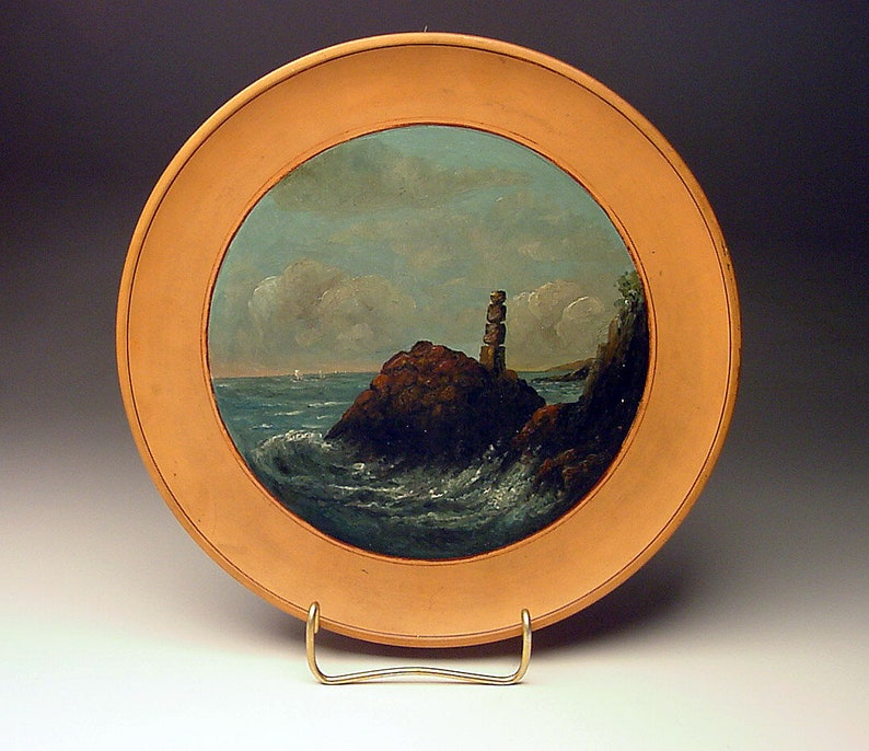 Circa 1895 Original Victorian Era Coastal Rock Painting on L Hjorth Denmark Terra Cotta Plate 609