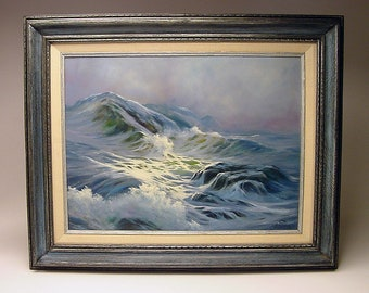 circa 1975 Powerful Radiant original Vintage Seascape oil painting on Masonite SIGNED with Ichthys Anita 12 inches by 16 inches Stunner