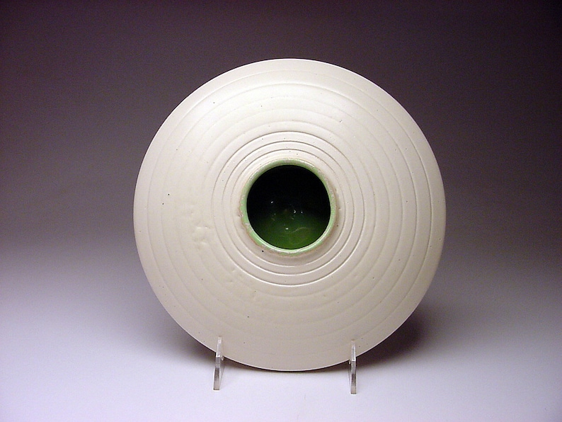 Circa 1948 Flying Saucer Vase Form Signed MEH concentric circles STUNNER too cool for school