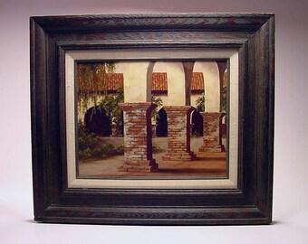 Listed Virginia City, Nevada Artist Barbara Murdock MCM painting on masonite San Juan Capistrano Mission dated 1976