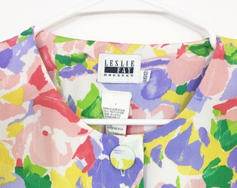 """90s Pastel Floral Dress - Pleated Skirt - Buttons - """"Leslie Faye"""""""
