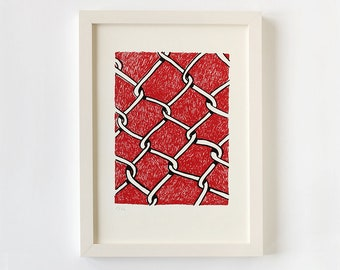 Screen print poster wire fence, screen print poster A4, screen print red white black, screen print limited hand printed, screen print stitches