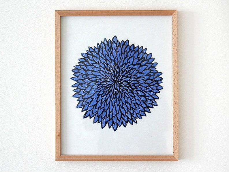 Chrysanthemum woodcut blue art print flower wood print image 0