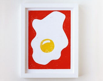 Sunny side up Original Woodblock Print Poster Fried Egg Kitchen Art Poster red and yellow 18 x 24cm